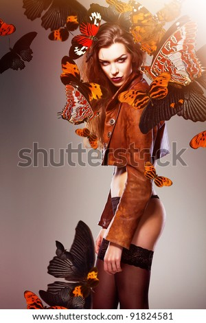 attractive sexy woman with big butterflies