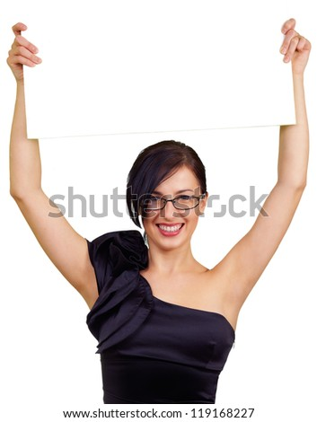 attractive smart woman holding board, isolated