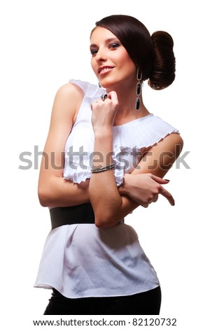 attractive smiley model posing over white background
