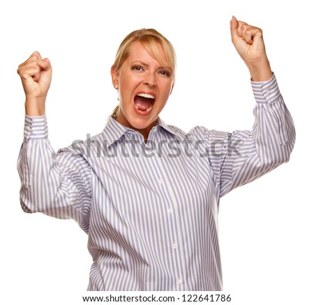 Attractive Smiling and Cheering Blond Woman Isolated on a White Background. - stock photo
