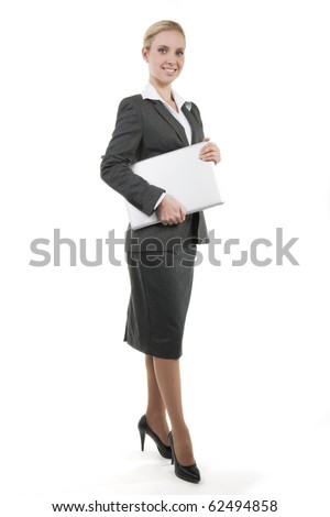 Attractive smiling business woman isolated on white