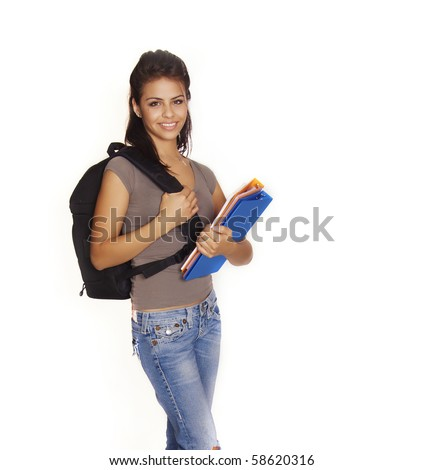 Attractive smiling friendly Latina adult college student going back to school with books and backpack
