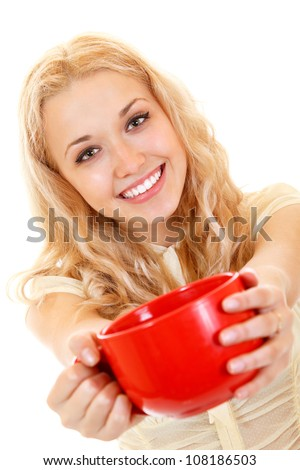 attractive smiling girl offer big red cup, isolated on white background