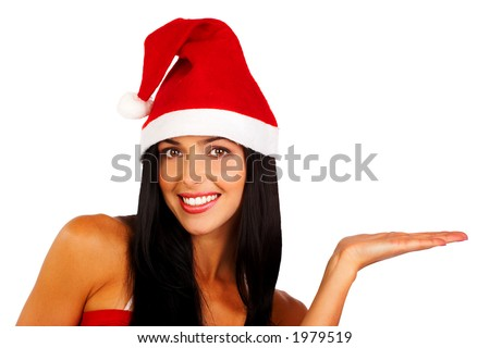Attractive smiling woman in Santa Cap holding something