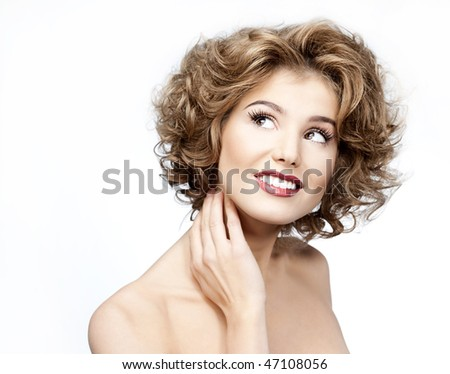 attractive smiling woman portrait on white background #47108056