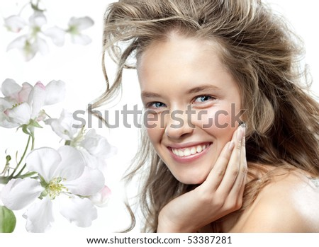 attractive smiling woman portrait on white background