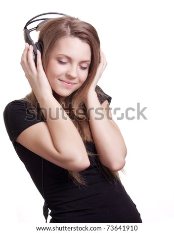 attractive smiling woman with headphones on white background