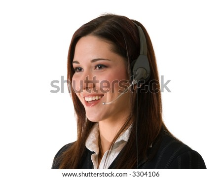 attractive smiling woman with telephone headset; oblique view isolated on white background