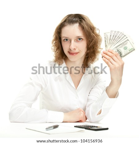 Attractive smiling young businesswoman showing money (dollar banknotes); isolated on white
