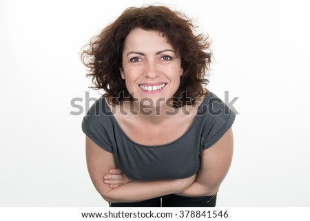 Attractive smiling young woman closeup portrait #378841546