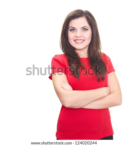 Attractive smiling young woman in red shirt standing with hands folded. Isolated on white background - stock photo