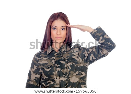 Attractive soldier giving a military salute isolated on a white background
