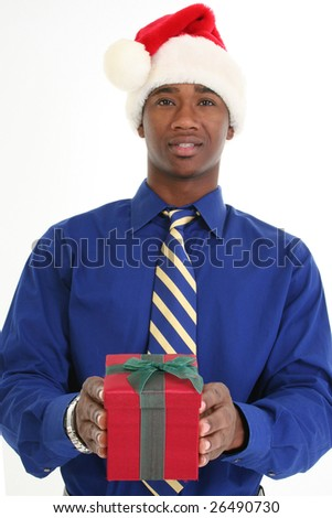 Attractive 20 something African American man handing gift box.