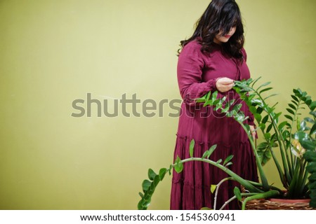 Attractive south asian woman in deep red gown dress posed at studio against green background with greenery.