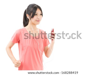 attractive sporty asian woman running on white background