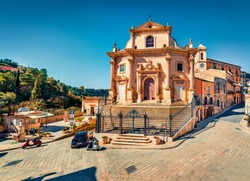 Attractive spring cityscape of Ragusa town with Church Holy Souls in Purgatory. Bright morning scene of Sicily, Italy, Europe. Traveling concept background.