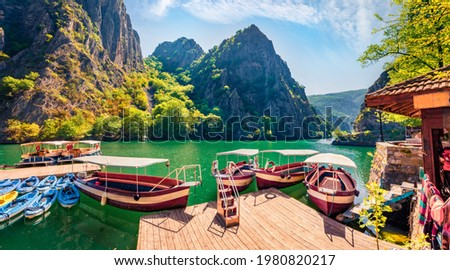 Attractive spring view of popular tourist destination - Matka Canyon. Wonderful morning scene of North Macedonia, Europe. Traveling concept background.