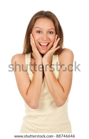 attractive surprised excited smile teenage girl, with white teeth, isolated over white background concept of happy student, young pretty woman