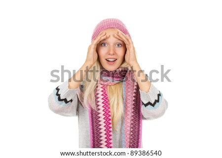 attractive surprised excited smile woman looking at camera holding hands on face, wear winter knitted pink hat scarf and sweater, isolated over white background