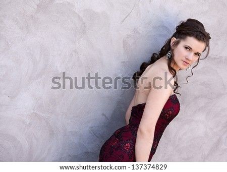 Attractive teen ready for prom.  Room for your text.
