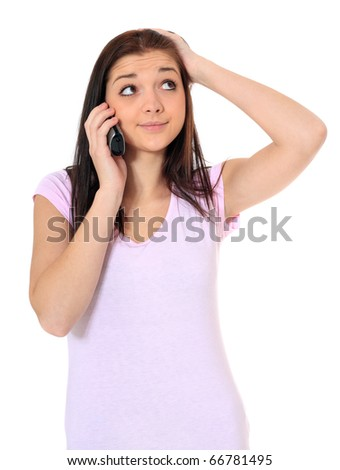Attractive teenage girl hanging in waiting loop. All on white background. - stock photo