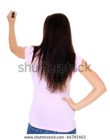 Attractive teenage girl using black marker. All on white background.