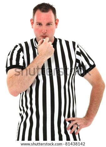 Attractive thirties referee blowing whistle over white background.