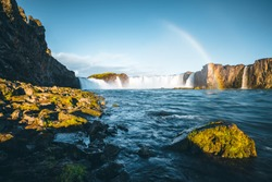 Attractive view of powerful Godafoss cascade. Location Bardardalur valley, Skjalfandafljot river, Iceland, Europe. Scenic image of beautiful nature landscape. Amazing scene. Discover beauty of earth.