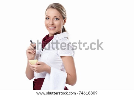 Attractive waitress on a white background