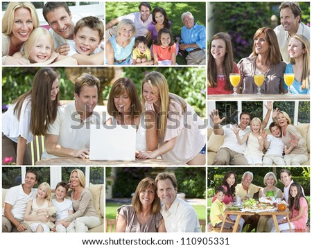Attractive white Caucasian families mothers, fathers, sons, daughters, grandparents outside having fun in the summer sunshine, eating, sitting, smiling, waving, laughing, happy