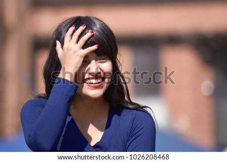 Attractive Woman And Happiness Wearing A Wig #1026208468