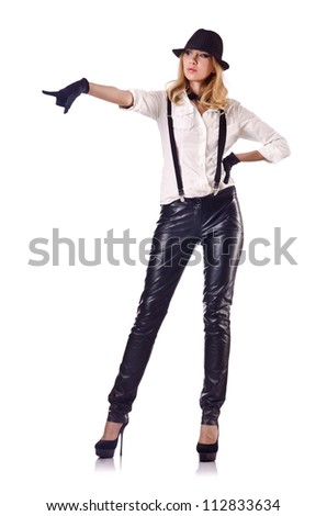 Attractive woman dancing in leather suit - stock photo