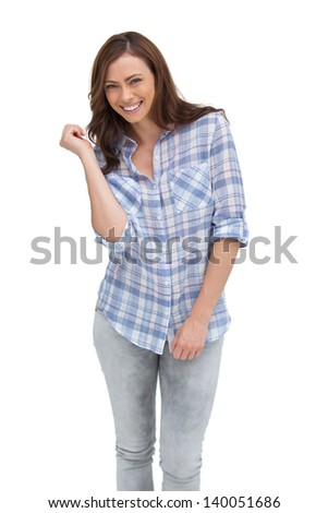 Attractive woman gesturing in front of the camera on white background