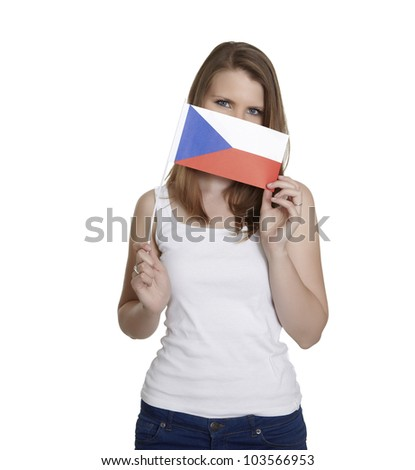 Attractive woman hides her face behind czech flag in front of white background