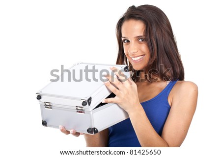 attractive woman holding an open metal box and smiling