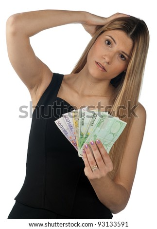 attractive woman holding money in her hands