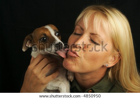 Attractive Woman Holds Her Jack Russell Terrier Dog