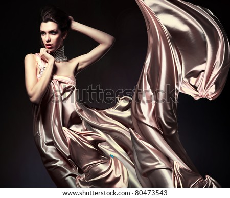 attractive woman in beautiful fabric