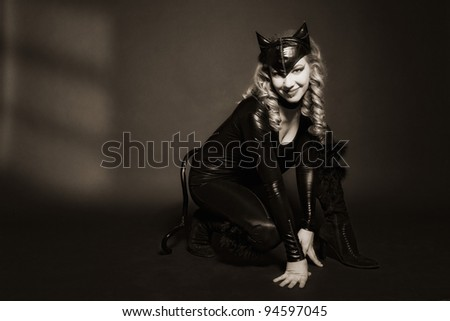 attractive woman in image of cat
