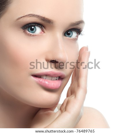 attractive  woman portrait on white background