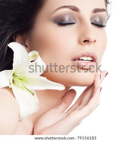attractive woman portrait on white background with flower