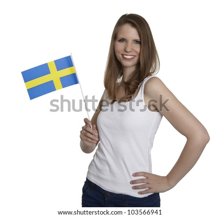 Attractive woman shows flag of Sweden and smiles in front of white background