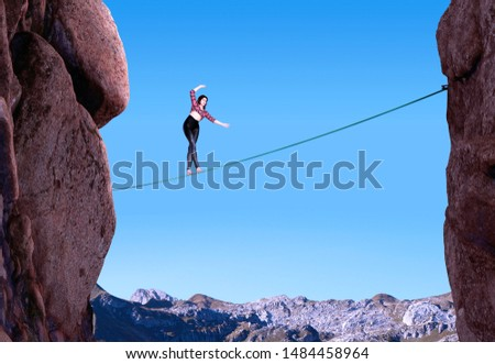 Attractive woman slacklining highlining,  walking on a rope in high rocky mountains, adventures  woman who battles fear, extreme sport, finding the balance, 3d rendered elements