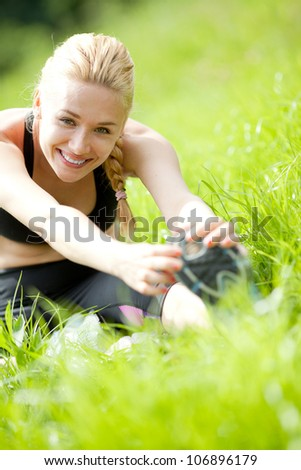 Attractive Woman stretching before Fitness and Exercise #106896179