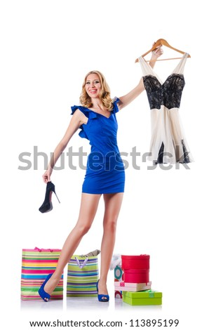 Attractive woman trying new clothing on white - stock photo