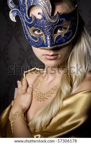 attractive woman wearing mask, over wallpaper background