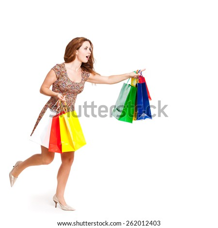 attractive woman with shopping...