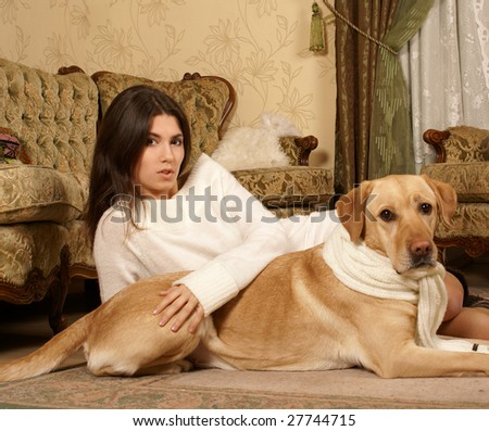 Attractive woman with the dog
