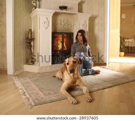 Attractive woman with the dog in the luxury interior - stock photo