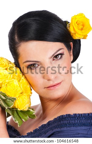 Hairstyles In Spanish : ... with yellow rose in spanish bun hairstyle isolated on white background